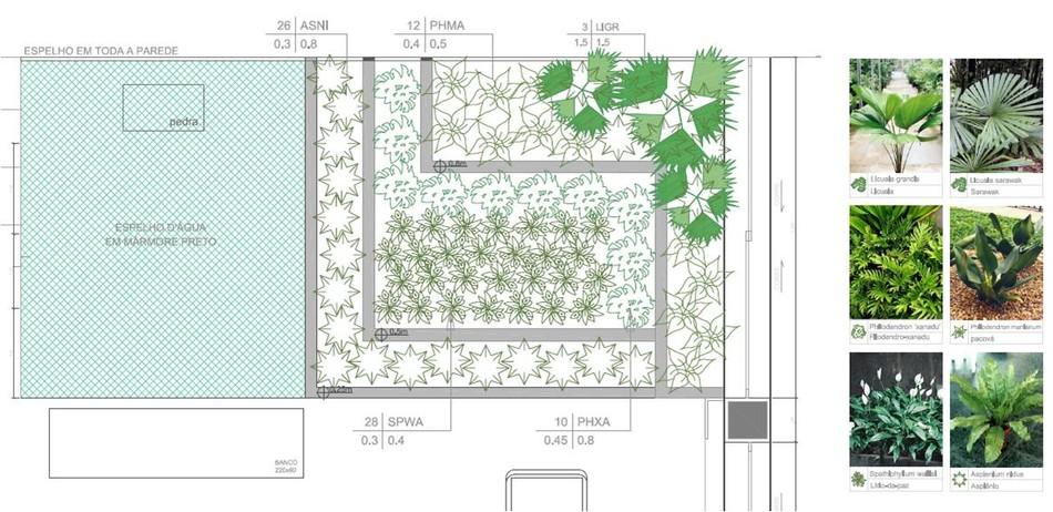 projeto de gruta de jardim:Cliente D&C – jardim interno – projeto executivo